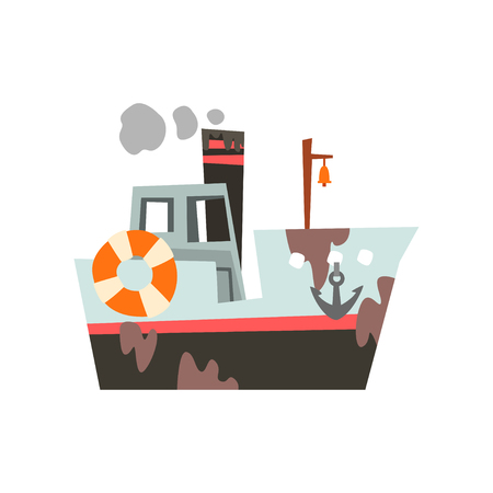 Fishing boat, industrial trawler for seafood production, retro marine vessel vector Illustration isolated on a white background.