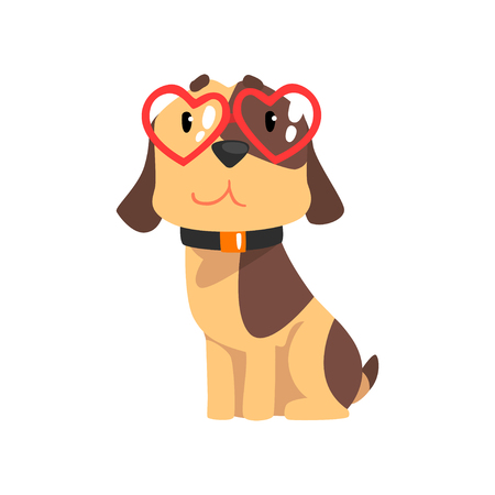 Funny Jack Russell Terrier dog with red glasses in the shape of a heart, cute Valentine animal character vector Illustration isolated on a white background.