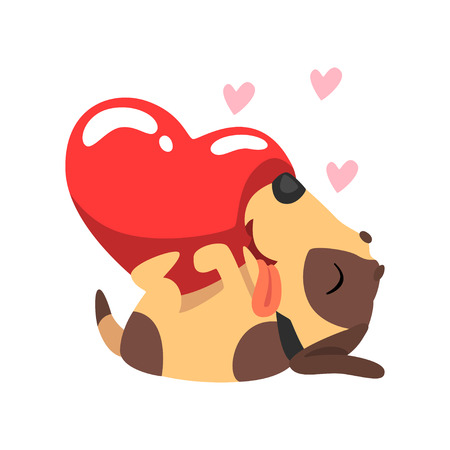 Happy Jack Russell Terrier dog with red heart, cute Valentine animal character vector Illustration isolated on a white background.