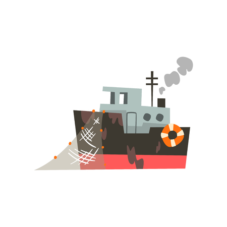 Fishing industrial trawler for seafood production, retro marine vessel vector Illustration isolated on a white background.