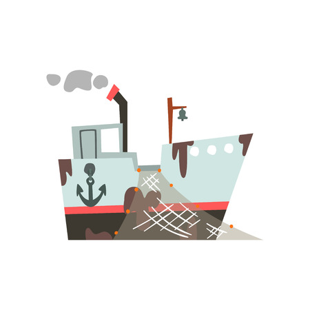 Fishing trawler with net for industrial seafood production, retro marine vessel vector Illustration isolated on a white background. Standard-Bild - 126540494
