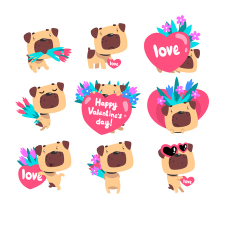 Funny Pug dog with bouquetds of flowers and hearts set, cute Valentine animal character vector Illustration isolated on a white background.