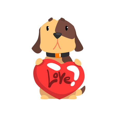 Funny Jack Russell Terrier dog sitting and holding red heart, cute Valentine animal character vector Illustration isolated on a white background.