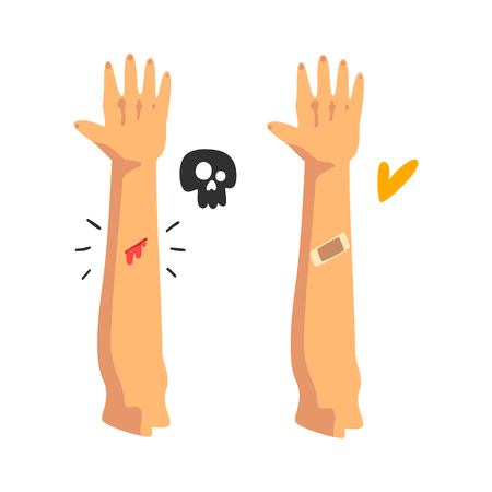 Bleeding wound on the hand, sticking plaster, physical injury, first aid and treatment vector Illustration isolated on a white background.
