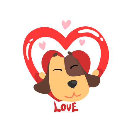Funny Jack Russell Terrier dog and red heart, cute Valentine animal character vector Illustration isolated on a white background. Illustration