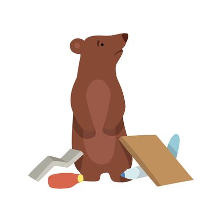 Residuos de oso y plástico, problema ambiental global, desastre ecológico vector ilustración aislada sobre fondo blanco. Ilustración de vector