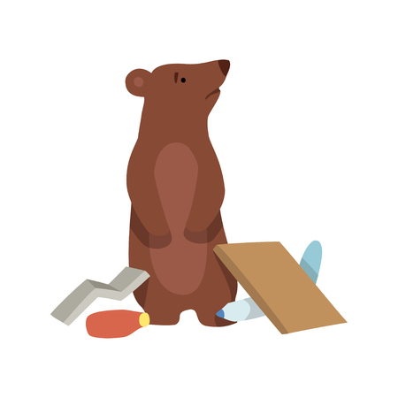 Bear and plastic waste, global environmental problem, ecological disaster vector Illustration isolated on a white background.