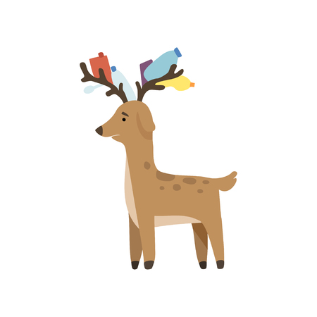 Deer with plastic trash in its horns, global environmental problem, ecological disaster vector Illustration isolated on a white background. Illustration