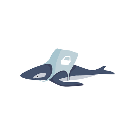 Whale entangled in a bag made of plastic, global environmental problem, ecological disaster vector Illustration isolated on a white background. Illusztráció