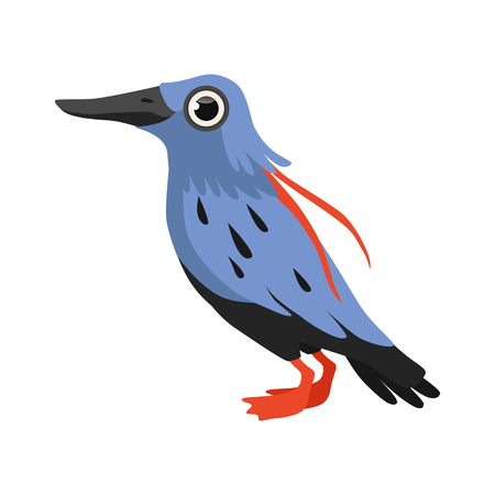 Beautiful blue bird vector Illustration isolated on a white background.