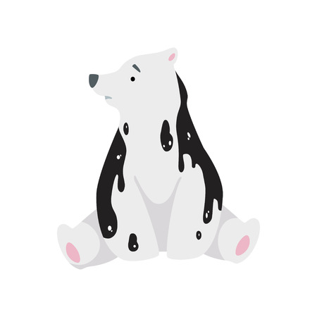 Polar bear in oil stains, global environmental problem, ecological disaster vector Illustration isolated on a white background.