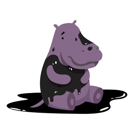 Hippo in oil stains, global environmental problem, ecological disaster vector Illustration isolated on a white background.