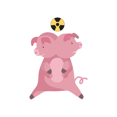 Animal mutation, radioactive contamination of the environment, ecological disaster vector Illustration isolated on a white background.