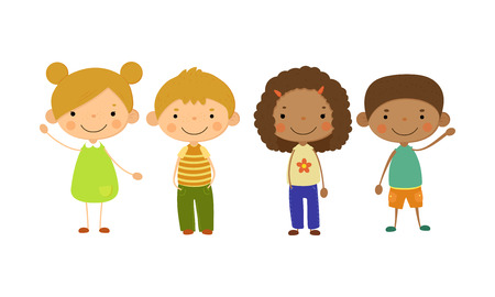 Bambini svegli di diverse nazionalità insieme, bambini felici, concetto di amicizia multinazionale vettoriale illustrazione isolato su sfondo bianco. Vettoriali