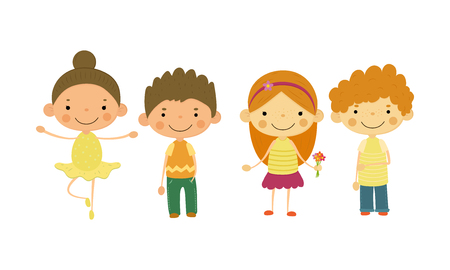 Cute little children, kids of different nationalities vector Illustration isolated on a white background.