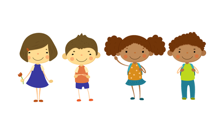 Cute children of different nationalities set, happy little boys and girls, multinational friendship concept vector Illustration isolated on a white background. Illusztráció