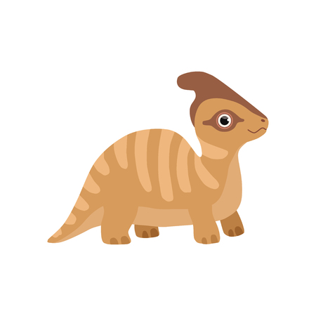 Cute parasaurolophus dinosaur, funny baby dino cartoon character vector Illustration isolated on a white background.