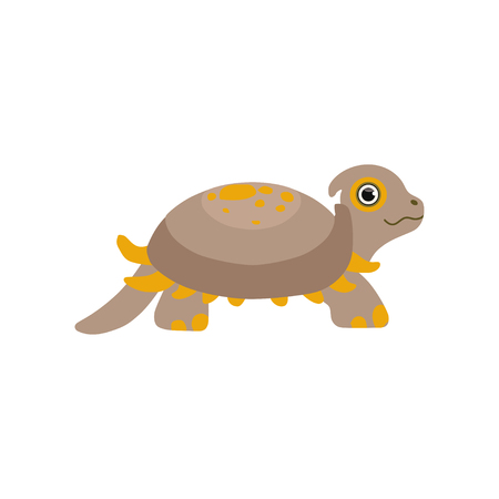 Cute prehistoric turtle, funny baby amphibian animal character vector Illustration isolated on a white background.