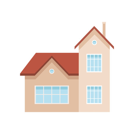 Residential house building, suburban private house, design element of urban or rural landscape vector Illustration