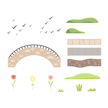 Park architectural landscape constructor design elements, plants, stone path, bridge, birds vector Illustration isolated on a white background.