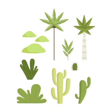 Tropical and desert botanical plants set, landscape constructor design elements vector Illustration isolated on a white background.