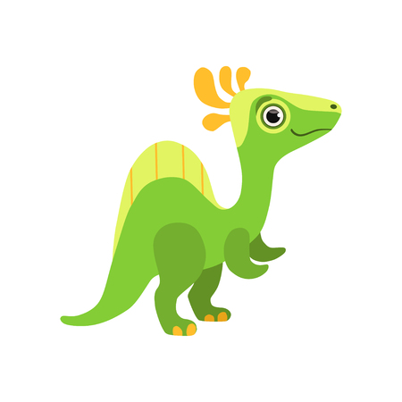 Cute spinosaurus dinosaur, green baby dino cartoon character vector Illustration isolated on a white background.