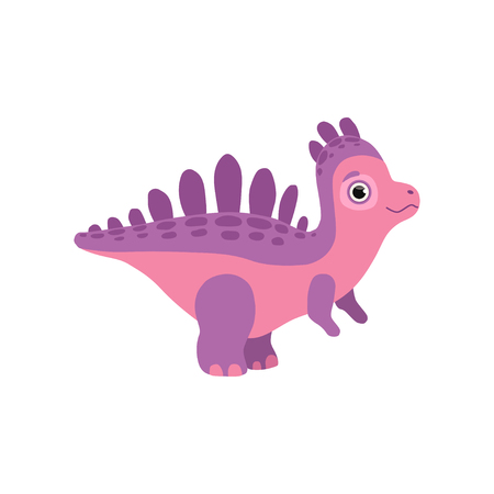 Cute dinosaur, funny baby dino cartoon character vector Illustration isolated on a white background.