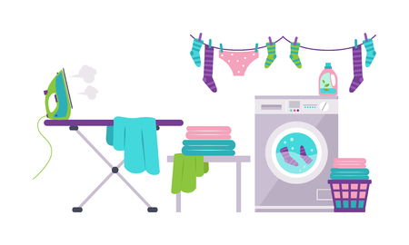 Laundry room with washing machine, ironing board, clothes rack, basket vector Illustration isolated on a white background.