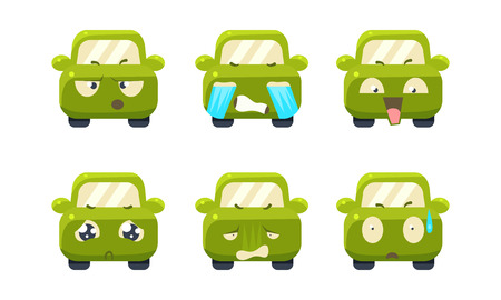 Collection of car emoticons, cute green car cartoon characters showing different emotions vector Illustration isolated on a white background. Ilustração