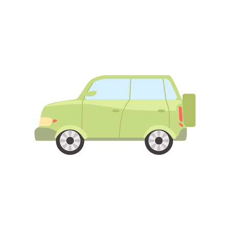 Green car, side view vector Illustration isolated on a white background