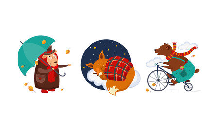 Cute funny animals characters in different actions, old sheep in a coat with an umbrella, fox cub sleeping on a cloud under a blanket, bear riding a bicycle vector Illustration isolated on a white background.