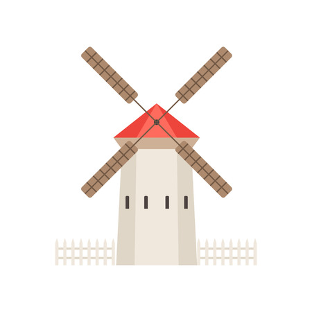Traditional rural windmill building, ecological agricultural manufacturing, design element of urban or rural landscape vector Illustration isolated on a white background. Illustration
