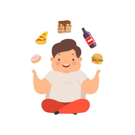 Niño con sobrepeso sentado en el suelo y haciendo malabares con platos de comida rápida, vector de caracteres de dibujos animados lindo niño gordito ilustración aislada sobre fondo blanco. Ilustración de vector