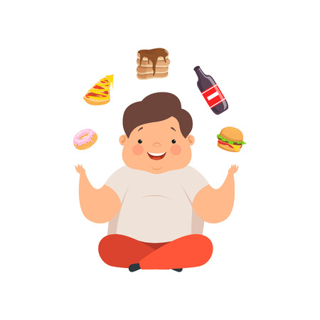 Overweight boy sitting on the floor and juggling fast food dishes, cute chubby child cartoon character vector Illustration isolated on a white background. Illustration