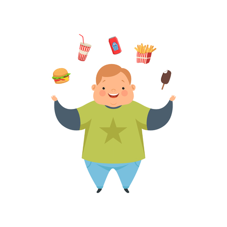 Overweight boy juggling fast food dishes, cute chubby child cartoon character vector Illustration isolated on a white background.