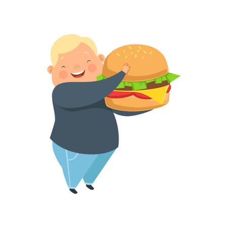 Chłopiec z nadwagą z ogromnym burgerem, słodkie dziecko pulchne kreskówka wektor ilustracja na białym tle. Ilustracje wektorowe