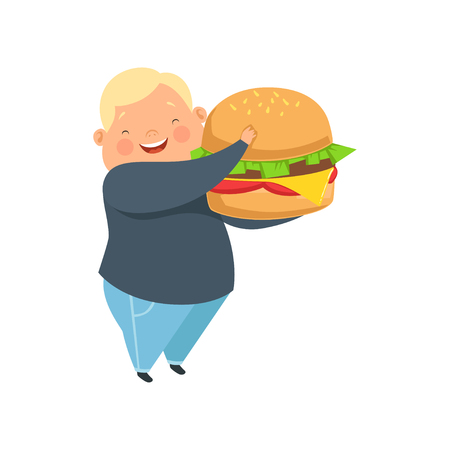Overweight boy with a huge burger, cute chubby child cartoon character vector Illustration isolated on a white background. Çizim