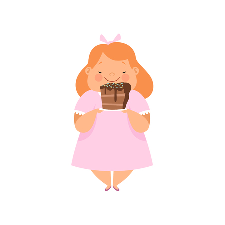 Overweight girl with a piece of chocolate cake, cute chubby child cartoon character vector Illustration isolated on a white background.