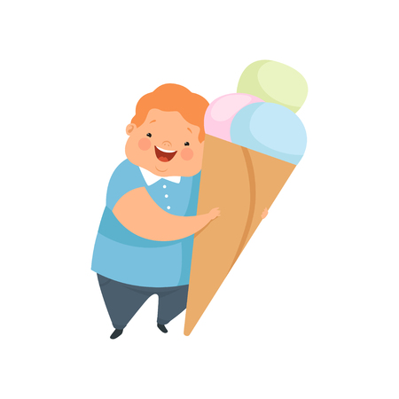 Overweight boy with a huge ice cream, cute chubby child cartoon character vector Illustration isolated on a white background.