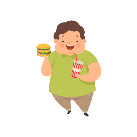 Overweight boy with hamburger and soda drink, cute chubby child cartoon character vector Illustration isolated on a white background.