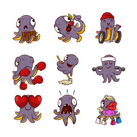 Set of funny purple octopuses in different actions Sea animals with tentacles. Humanized marine creatures. Cartoon characters. Stickers for messenger. Vector illustrations isolated on white background Illustration
