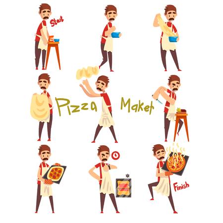 Etapas de preparación de pizza set, chef masculino amasando, tirando una masa, cortando verduras y horneando, vector de caracteres de pizzero ilustración aislada sobre fondo blanco. Ilustración de vector