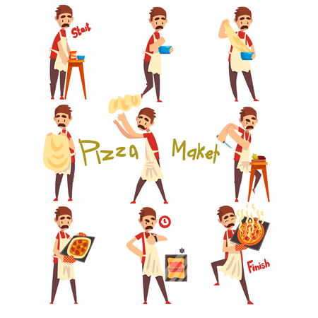 Stages of preparing pizza set, male chef kneading, tossing a dough, cutting vegetables and baking, pizza maker character vector Illustration isolated on a white background.