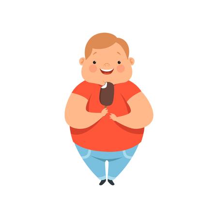 Ragazzo in sovrappeso che mangia il gelato, simpatico bambino paffuto personaggio dei cartoni animati vettoriale illustrazione isolato su sfondo bianco.