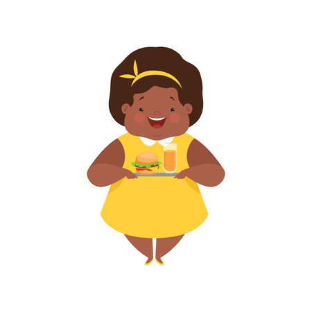 Happy overweight african american girl with junk fast food, cute chubby child cartoon character vector Illustration isolated on a white background. Çizim