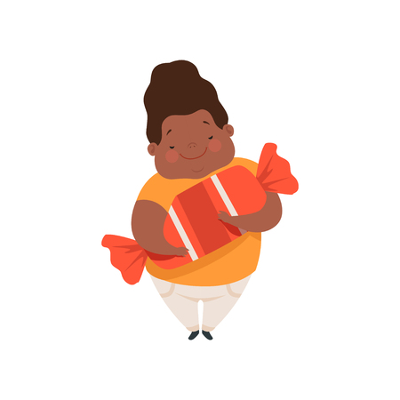 Overweight african american boy with a huge candy, cute chubby child cartoon character vector Illustration isolated on a white background.