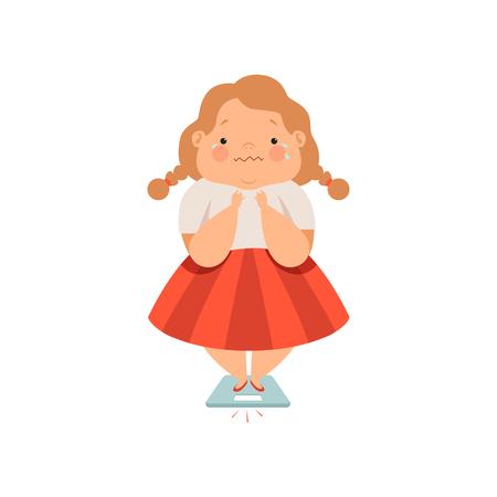 Ragazza sudata in sovrappeso, carino bambino paffuto personaggio dei cartoni animati vettoriale illustrazione isolato su sfondo bianco.
