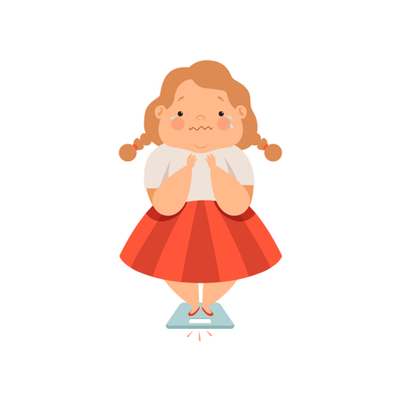 Overweight sweaty girl, cute chubby child cartoon character vector Illustration isolated on a white background.