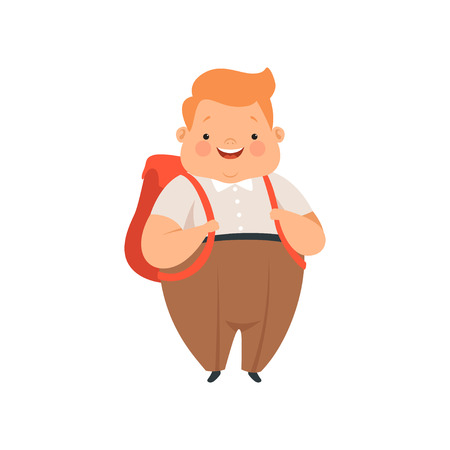 Overweight boy standing with backpack, cute chubby child cartoon character vector Illustration isolated on a white background.