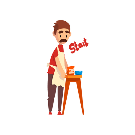 Chef making dough, pizza maker character, stage of preparing Italian pizza vector Illustration isolated on a white background.